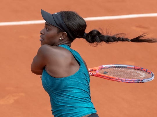 Sloane Stephens in action during her match against