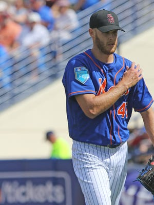 Mets pitcher Zack Wheeler after he pitched the first inning for the Mets. The Mets played their first game of the exhibition season.