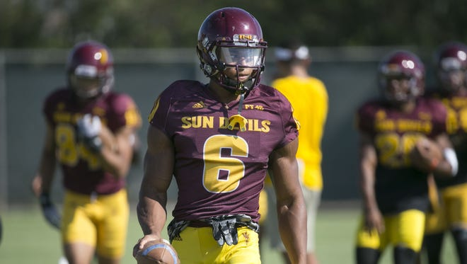 ASU wide receiver Cameron Smith looks on during an ASU football practice at the ASU practice facility in Tempe on Tuesday, August 16, 2016.