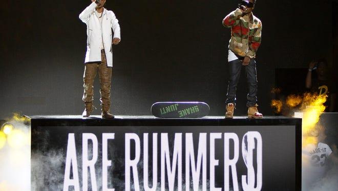 Swae Lee and Slim Jimmy of Rae Sremmurd performs at the 2014 BET Hip Hop Awards held at the Atlanta Civic Center on Saturday, Sept. 20, 2014, in Atlanta (Photo by Dan Harr/Invision/AP)