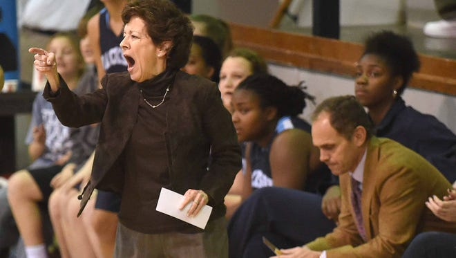 Jackson Academy head coach Jan Sojourner directs the Lady Raiders against MRA Tuesday, January 13, 2015, at Madison-Ridgeland Academy.