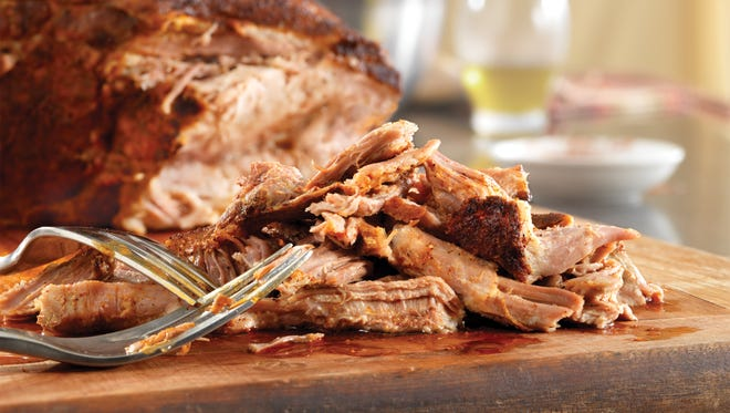 Though pulled pork is traditionally cooked in a barbecue smoker, it also can be prepared on low heat in the slow cooker. Pulled refers to the shredding of the tender meat using two forks.