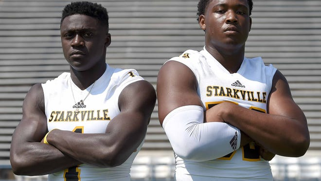 Starkville teammates A.J. Brown (left) and Kobe Jones will announce their college decisions on national signing day.