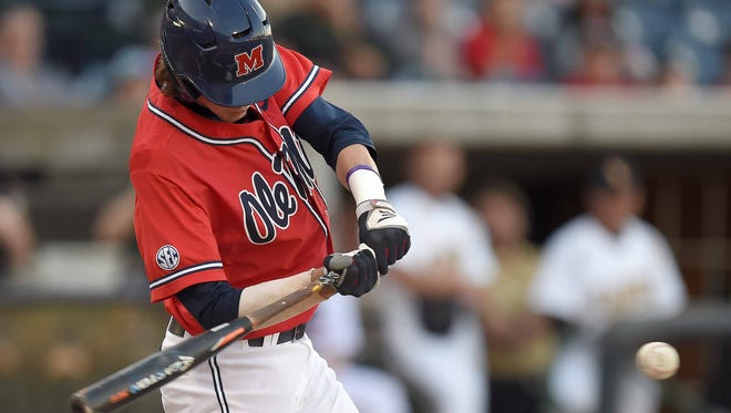 Ole Miss right fielder Ryan Olenek looks to drive a pitch against Southern Miss in the second of three games in the 2016 College Series on Tuesday, April 5, 2016, at Trustmark Park in Pearl, Miss.