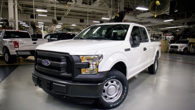 The 2016 Ford F-150 with 5.0-liter Ti-VCT V8 engine offering gaseous-fuel prep option is rolling off the line at Kansas City Assembly Plant, making it the only light-duty pickup capable of running on compressed natural gas (CNG) or propane.  The 2016 Ford F-150 is the only full-size pickup truck to score the top rating in new front crash tests performed by the insurance industry. Rival pickups from Chevrolet, GMC, Ram and Toyota didn't fare as well, according to results released Tuesday, April 12, 2016, by the Insurance Institute for Highway Safety. (Ford Motor Company via AP)