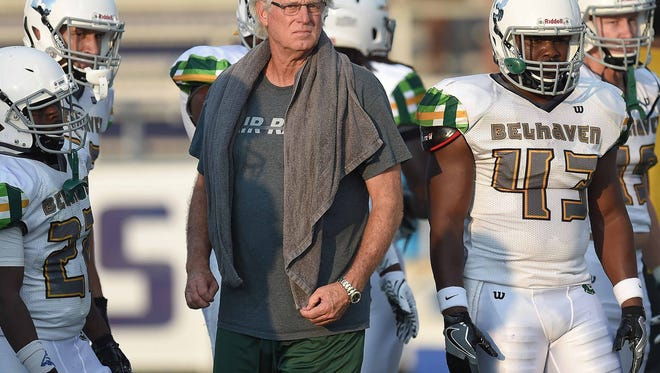 Belhaven head coach Hall Mumme watches the Blazers warm up for the game against Millsaps on Thursday, September 1, 2016, at Harper Davis Field on the Millsaps College campus in Jackson, Miss. (Chris Todd/For The Clarion-Ledger)