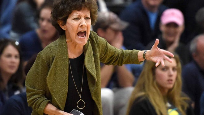 Jackson Academy head coach Jan Sojourner calls out to the Lady Raiders on Saturday, February, 25, 2017, in the MAIS AAAA state basketball championship at Jackson Academy in Jackson, Miss.