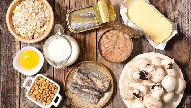 Fatty fishes, such as tuna, mackerel and sardines, fortified foods, such as cereal, eggs and mushrooms are good sources of vitamin D.