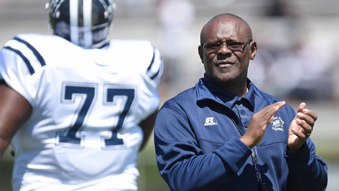 Head coach Tony Hughes applauds the Tigers effort on Saturday, April 8, 2017, in the Jackson State University Blue and White Spring Game at Mississippi Veterans Memorial Stadium in Jackson, Miss.
