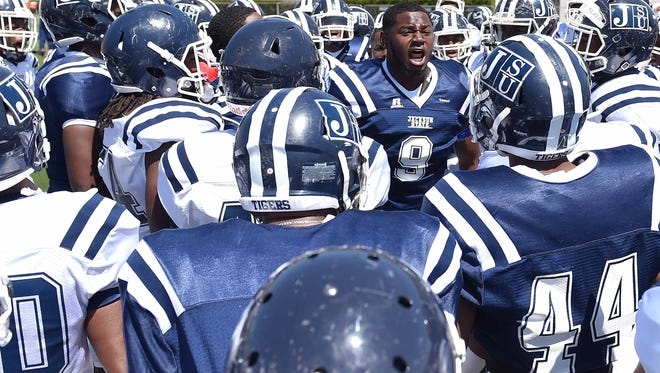 Andre Lloyd (9) gets the Tigers up for game on Saturday, April 8, 2017, in the Jackson State University Blue and White Spring Game at Mississippi Veterans Memorial Stadium in Jackson, Miss.