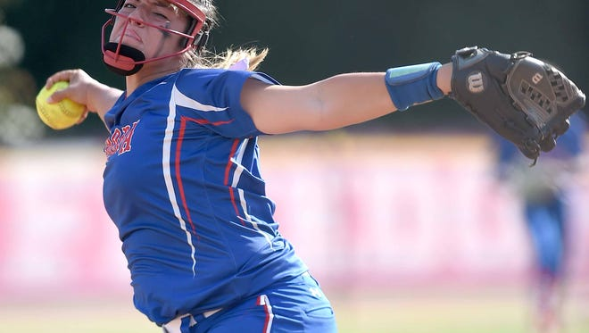 Neshoba Central's Aspen Wesley pitches to a PIcayune hitter on Friday, May 12, 2017, in the MHSAA Fast-Pitch Softball State Championship at Freedom Ridge Park in Ridgeland, Miss.