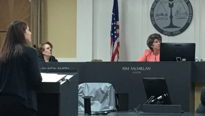 Jennifer Letourneau, director of  Clarksville Parks & Recreation, presents her department's proposed budget to Clarksville Mayor Kim McMillan and staff, Friday.
