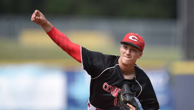 Corinth's Kyle Crigger pitches against West Lauderdale on Wednesday, May 17, 2017, in the MHSAA State Baseball Championships at Trustmark Park in Pearl, Miss.