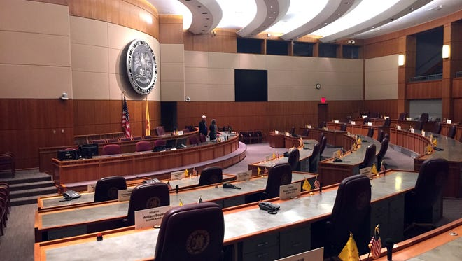 The New Mexico state Senate chamber awaits the arrival of lawmakers for a special legislative session in Santa Fe, N.M.
