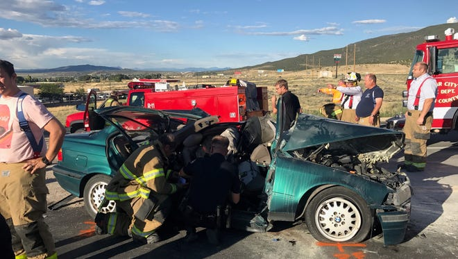 An adult man and a 16-year-old male have been transported by Life Flight helicopter following a crash with a semitrailer in Cedar City.
