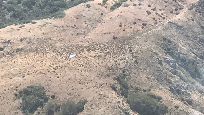 A photo overlooking a spot on Santa Cruz Island where smokejumpers parachuted in Monday.
