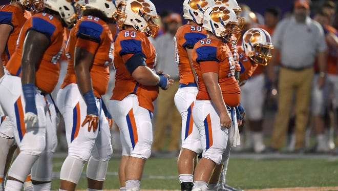 The Madison Central offense prepares to run a play against the Pearl PIrates on Friday, September 15, 2017, at Madison Central High School in Madison, Miss.