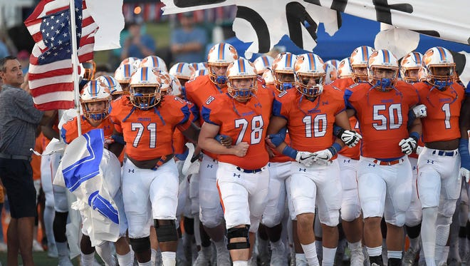 The Madison Central Jaguars take the field on Friday, September 15, 2017, at Madison Central High School in Madison, Miss.