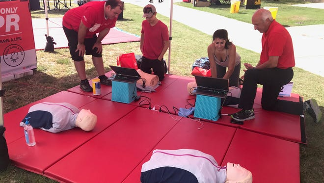 Students learn life-saving CPR techniques at the American Heart Association's two-day training event at Rowan University's Glassboro campus.