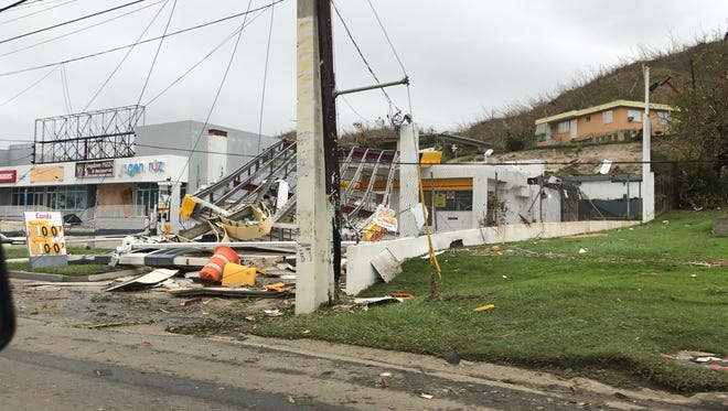 Hurricane Maria destroyed this gas station in Puerto Rico.