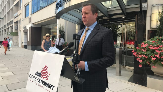 Republican Corey Stewart condemned NFL players who took a knee to protest police brutality against minority communities, during a Wednesday news conference.