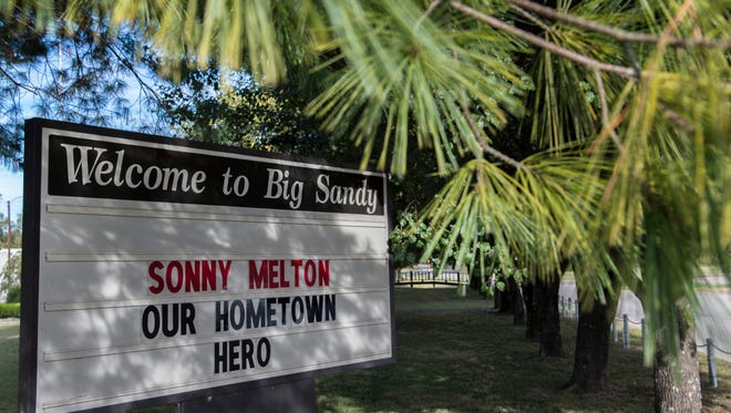 A tribute to Las Vegas shooting victim Sonny Melton is displayed on the message board Wednesday, October 4, 2017, in Big Sandy.