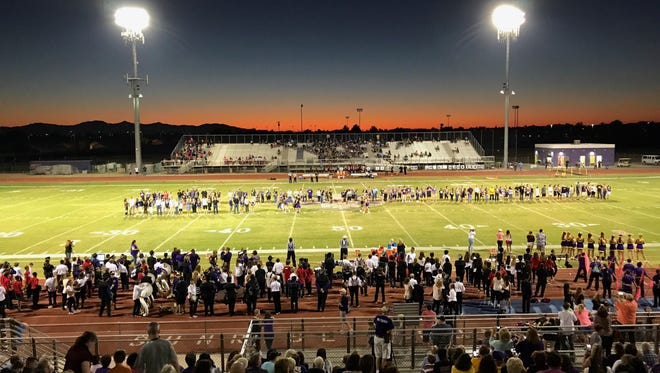 A view of the field at Sunrise Mountain, who hosted Cactus on Friday, Oct. 6, 2017.
