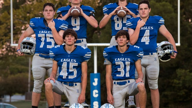 From left: Zach Simpson, Nick Simpson, Forrest Maners, Cameron Maners, Owen Hughes and Andrew Hughes pose for a portrait Tuesday, October 17, 2017, after practice at Jackson Christian High School.