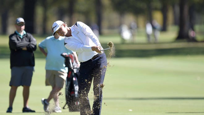 Patton Kizzire hits an iron from the 5th fairway during the Allen Exploration Pro-Am on Wednesday, October 25, 2017, at the Sanderson Farms Championship at the Country Club of Jackson in Jackson, Miss.