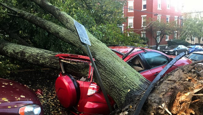 A large tree is down on top of a car on Mellen Street, in Portland, Maine, Monday, Oct. 30, 2017, after early morning storm with high winds. Central Maine Power, the state's largest utility, said its 391,000 outages surpasses its peak of 345,000 homes and businesses without power during the ice storm of 1998.