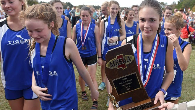 The Saltillo Lady Tigers won the Class 5A team championship on Monday, November 6, 2017, in the MHSAA Class 5A-3A-1A State Cross Country Meet at Choctaw Trails in Clinton, Miss.