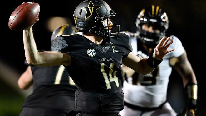 Vanderbilt quarterback Kyle Shurmur (14) attempts to pass against Missouri during the first half at Vanderbilt Stadium in Nashville, Tenn., Saturday, Nov. 18, 2017.