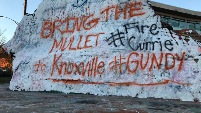 The Rock at the University of Tennessee includes Bring The Mullett to Knoxville with hashtags #Gundy and #Fire Currie on Tuesday, Nov. 28, 2017.