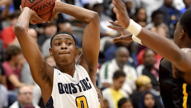 Olive Branch's D.J. Jeffries (0) looks to passes against Canton during a Rumble in the South MLK Classic high school basketball tournament game on Monday, January 15, 2018, at St. Andrew's Episcopal School in Ridgeland, Miss.
