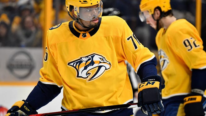 Nashville Predators defenseman P.K. Subban (76) gets into position after a time-out during the second period against the Arizona Coyotes at Bridgestone Arena in Nashville, Tenn., Thursday, Jan. 18, 2018.