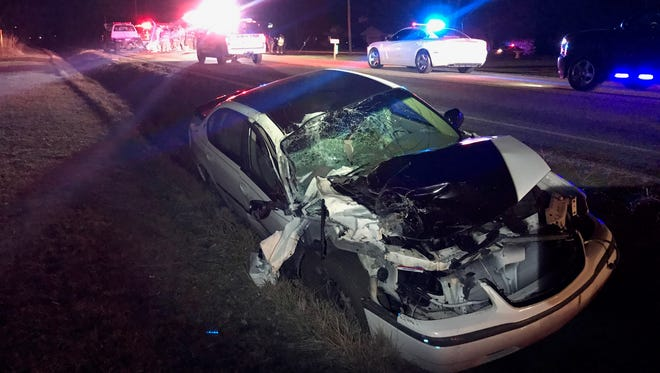 A rural Muncie man's car was severely damaged Tuesday when it crashed into an Eaton Fire Department vehicle at Ind. 3 and Delaware County Road 1100-N. Firefighters were diverting traffic from the scene of an earlier accident. The car's driver was arrested for driving while intoxicated.