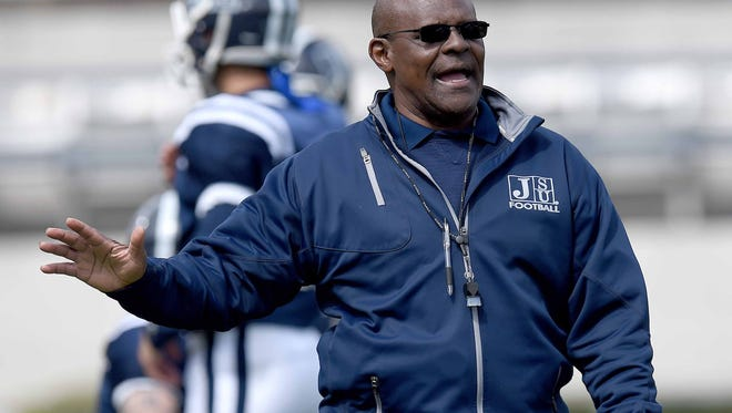 Jackson State head coach Tony Hughes talks to the officials during a break in the action on Sunday, April 15, 2018, in the JSU spring game in Mississippi Veterans Memorial Stadium in Jackson, Miss.