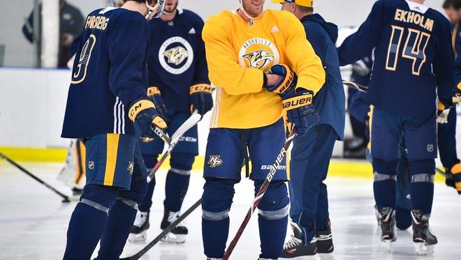 Nashville Predators center Kyle Turris (8) during practice at Centennial Sportsplex in Nashville, Tenn., Wednesday, April 25, 2018.