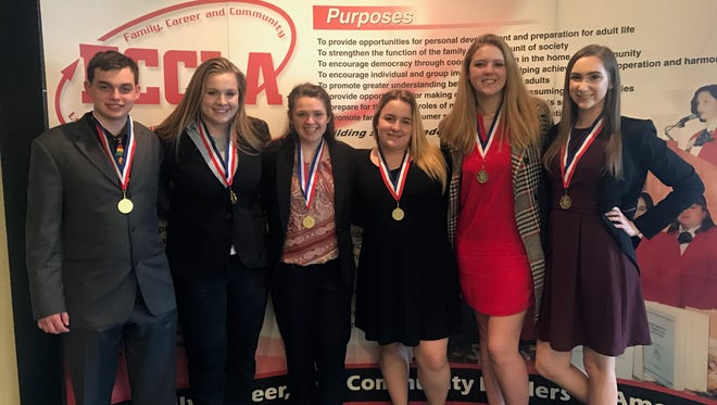 Left to right: Justin Eannone, Meadow Jacobson, Heather Myers, Heather Kelly, Madison Trevaskiss and Alyssa DeBiasio