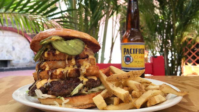 """The Slugger"" burger at Derby City Burgers in Puerto Vallarta, Mexico."