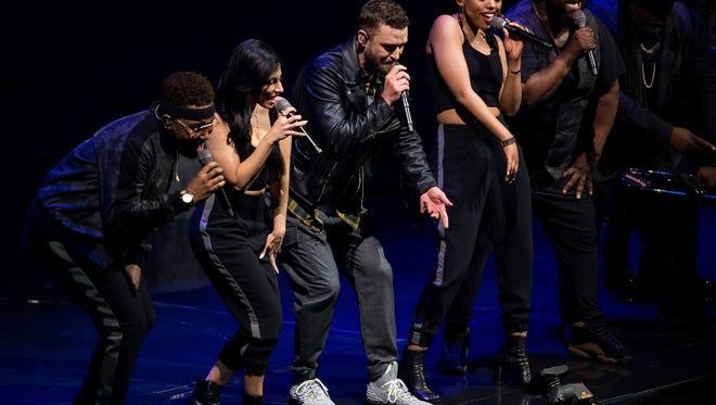 Justin Timberlake performs at Bridgestone Arena, Wednesday, May 9, 2018, in Nashville, Tenn.
