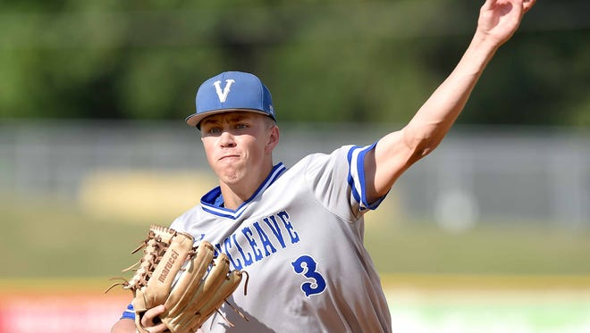 Vancleave's Bailee Hendon throws against New Hope on Wednesday, May 16, 2015, in the MHSAA State Baseball Championships at Trustmark Park in Pearl, Miss.