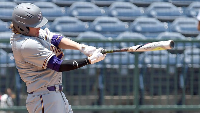 DeSoto Central's Blaze Jordan hits against George County on Saturday, May 19, 2018, in the MHSAA State Baseball Championships at Trustmark Park in Pearl, Miss.