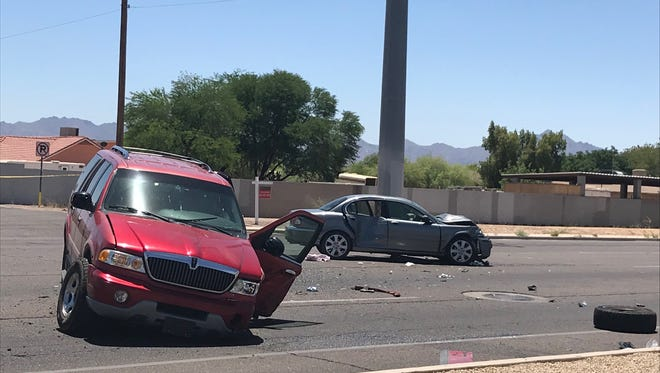 Five people, including three children, were hurt in a head-on collision at 29th Avenue and Baseline Road in Phoenix on May 23, 2018.