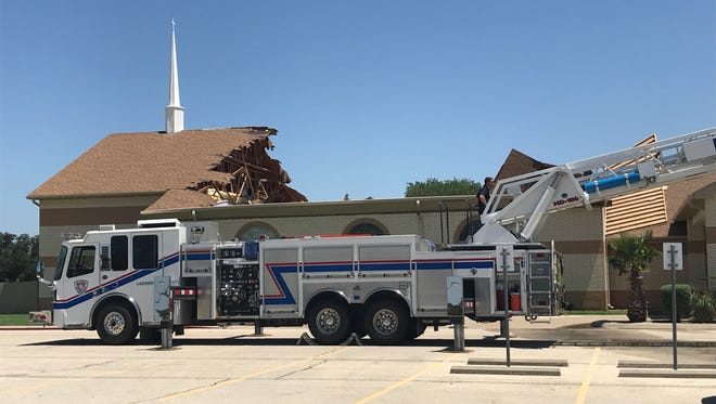 """The roof of the Victory Christian Church Center, 1620 Sunset Drive suffered a """"catastrophic failure,"""" Friday, May 25, 2018."""