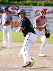 Flat Bill's Gabe Valdez runs the bases during a game against the 4-C ClubSox on Wednesday at Ricketts Park.