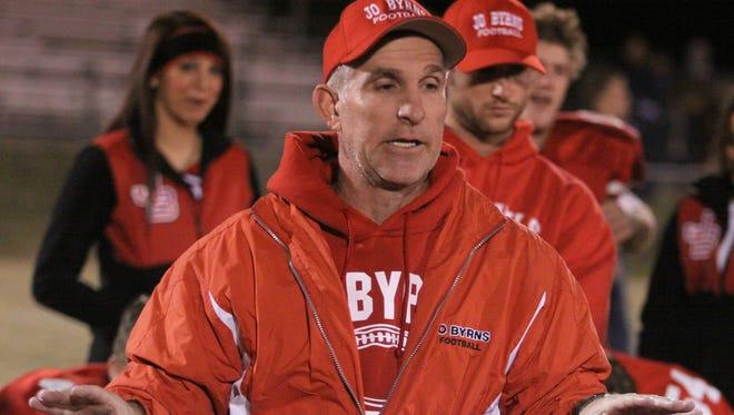 Jo Byrns head coach Tom Adkins