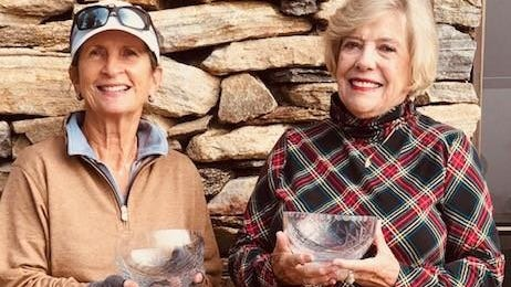 Patty Brotherton, left, and Lavinia Zimmerman pose after winning titles at the Hendersonville Country Club Women's Golf Association's Club Championship earlier this month.
