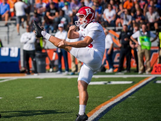 FILE - In this Oct. 14, 2017, file photo, Rutgers punter Ryan Anderson (96) punts the ball during an NCAA college football game against Illinois, in Champaign, Ill. Anderson was selected to the AP All-Conference Big Ten team announced Wednesday, Dec. 6, 2017. (AP Photo/Bradley Leeb, File)