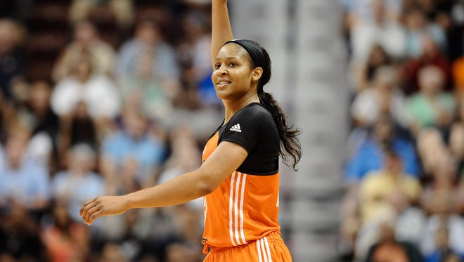 West's Maya Moore, of the Minnesota Lynx, reacts in the final seconds the WNBA All-Star basketball game, Saturday, July 25, 2015, in Uncasville, Conn. The West won 117-112. Moore, who scored 30 points, was named MVP.